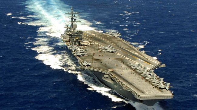 A General View Shows The Nuclear Powered Aircraft Carrier Uss Harry S Truman At