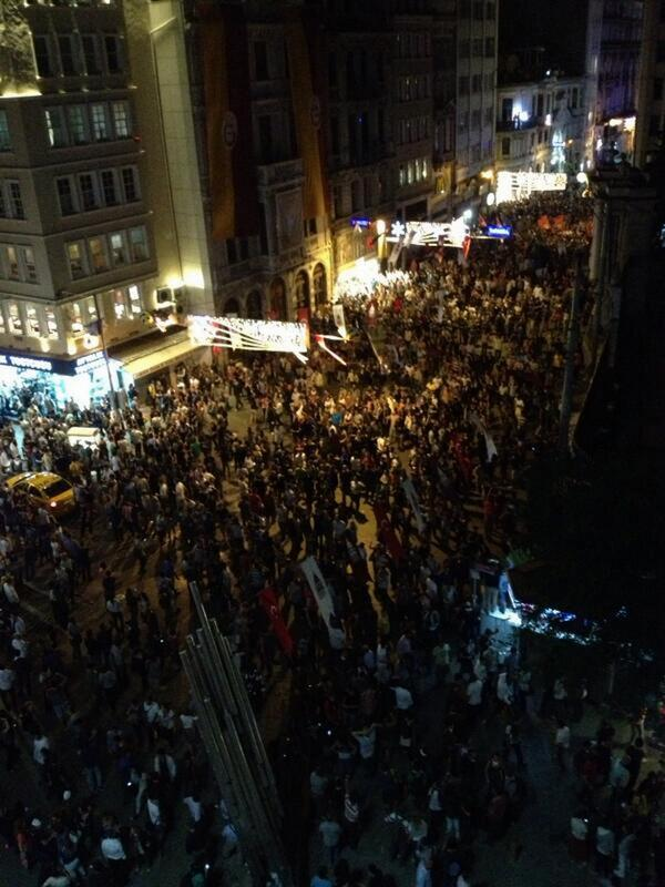 Live picture of huge crowd gathered at Galatasaray, near