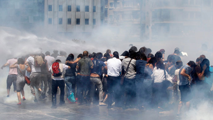 Turkish police have fired tear gas and water cannon