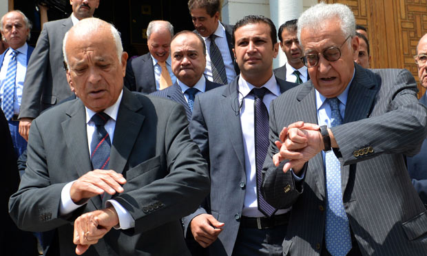 UN and Arab League envoy for Syria Lakhdar Brahimi and Nabil al-Arabi