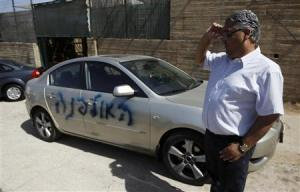 A Palestinian man stands next to his car sprayed with graffiti in the East Jerusalem neighbourhood of Shuafat