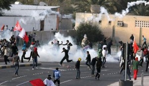Bahraini protesters again attacked by police forces