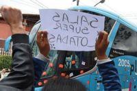 Protesters block Brazil football stars