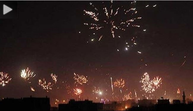Yemen Celebrating Constitutional Declaration by fireworks + Video