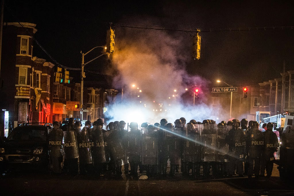 a baltimore rebellion with police and fire, April 27, 2015