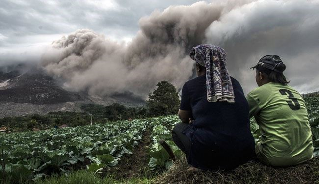 Mount Sinabung Volcano Spread Avalanche of Volcanic Material
