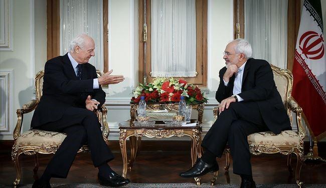 Iran FM Zarif Meets UN Special Envoy for Syria Staffan de Mistura