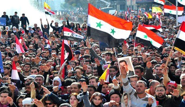 Syrian People Protest against Terrorists in Damascus