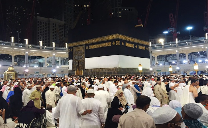 Muslim pilgrims walk around around the Kaaba, the cubic building at the Grand Mosque in the Muslim holy city of Mecca, Saudi Arabia, early Saturday morning, Sept. 12, 2015.  A towering construction crane toppled over on Friday during a violent rainstorm in the Saudi city of Mecca, Islam's holiest site, crashing into the Grand Mosque and killing over a hundred people, ahead of the start of the annual hajj pilgrimage later this month. (AP Photo)