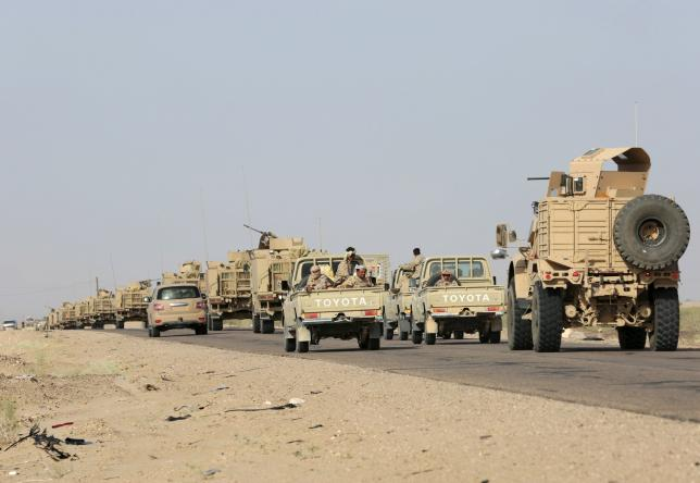 Military vehicles carrying Gulf Arab soldiers arrive at Yemen's northern province of Marib September 8, 2015. REUTERS/Stringer