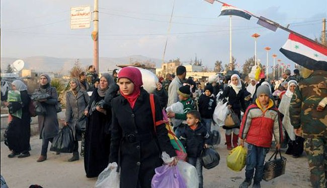 The picture shows hundreds of families that were displaced from the Damascus suburb of Moadamiyet al-Sham, returning to their homes on February 4, 2014.