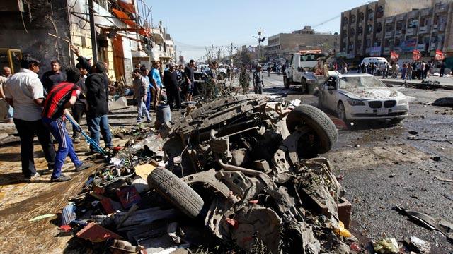 Site of a car bomb attack Baghdad