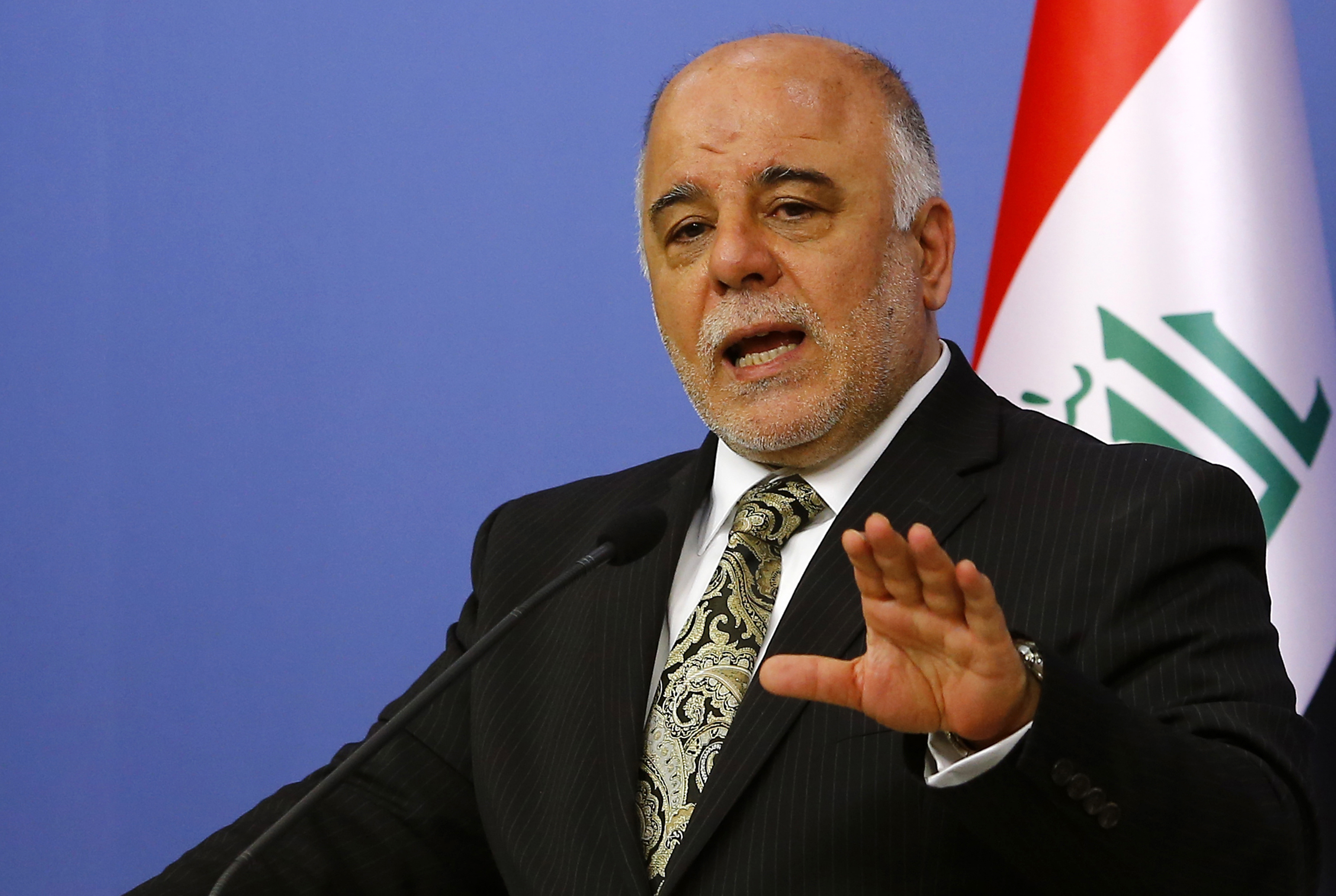 Iraqi Prime Minister Haider al-Abadi addresses the media in Ankara December 25, 2014. REUTERS/Umit Bektas (TURKEY - Tags: POLITICS) - RTR4J8X5