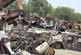 Photo of NATO convoy attacked in NW Pakistan