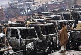 Photo of Militants torch more NATO trucks in Pakistan