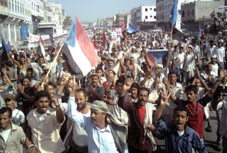 Photo of Protesters overrun streets in south Yemen