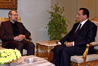 "Photo of Larijani hails ""constructive"" talks with Mubarak"