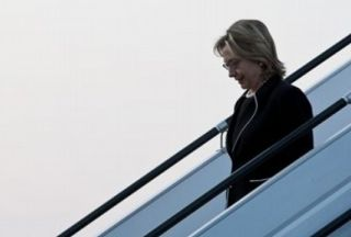 Photo of Clinton arrives in Baku