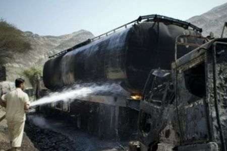 Photo of NATO trucks torched in Pakistan