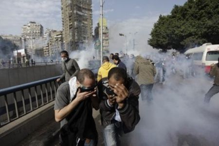 Photo of Egyptian police fire shots in Cairo