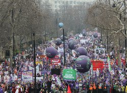 Photo of London besieged by up to half a million protesters