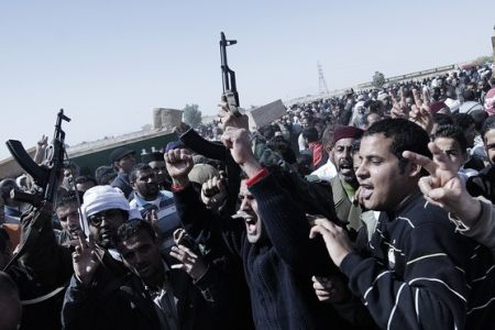 Photo of Revolutionary Forces fighting with Gaddafi forces in Major Towns