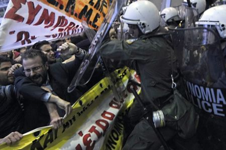 Photo of Greek contract workers protest job cuts