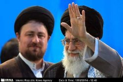 Photo of The Leader addressing the mourners of Imam Khomeini
