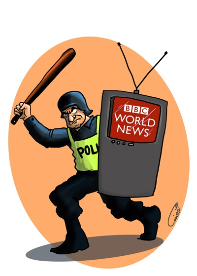 Photo of Caricature- British police crackdown backed by BBC?