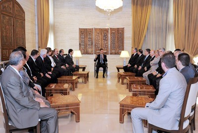 Photo of President al-Assad Discusses with Delegation of Syrian Community in Brazil Situation in Syria, Reform Steps