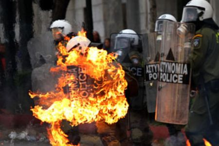 Photo of Greek police clash with protesters