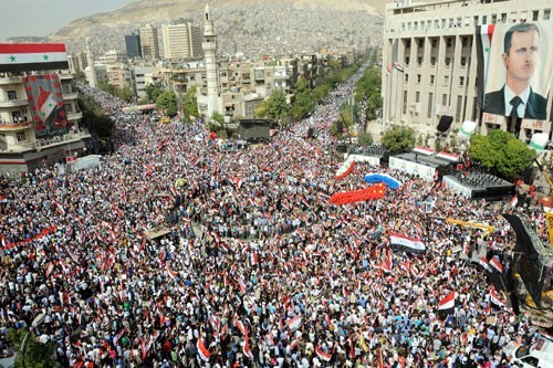 Photo of Mass Rallies Condemning AL Decisions against Syria