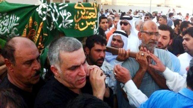 Photo of Rajab on hunger strike in protest at Bahrain prison officials misbehavior
