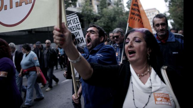 Photo of Greeks protest austerity deal with lenders