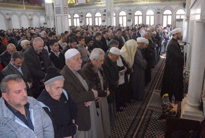 Photo of Funeral Prayer for Thursday Bombing's Martyrs in Damascus