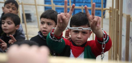 Photo of Gaza children hold sit-in in solidarity with prisoners