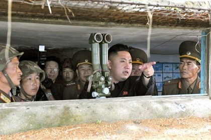 """Photo of North Korean Leader Oversees """"Actual War"""" Drill"""