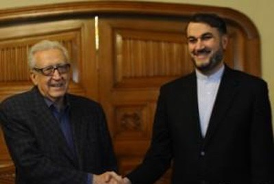 Photo of Abdullahian and Brahimi Discuss Crisis in Syria