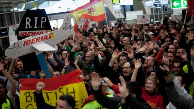 Spain's Iberia workers hold demo in Madrid to protest job cuts