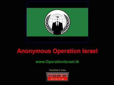 """Photo of Video- Anonymous Hits """"Israel"""" Hard: To 'Erase' Zionist Presence from Cyber World"""