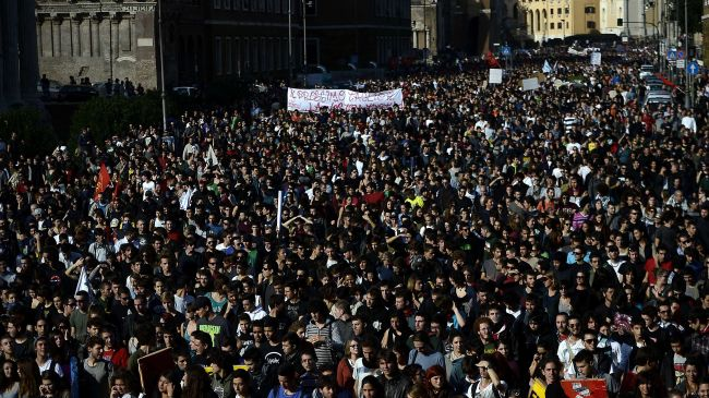 Italians protest austerity in force