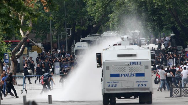 Photo of Turkish police use water cannons against protesters