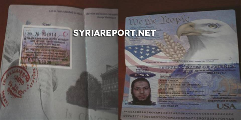 "Photo of An American passport belonging to a militant from the ""Islamic state of Iraq and al-Sham"" – found in northern Syria recently"