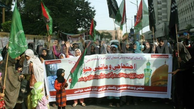 Pakistanis stage demo in Karachi over desecration of Syria's holy site