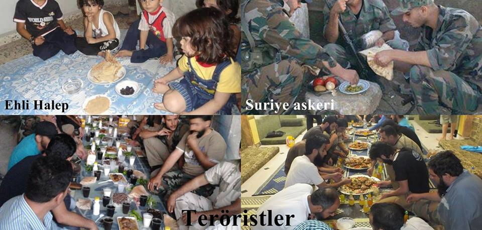 Photo of This meal of zionists- backed brutal terrorists in Syria shows all details.