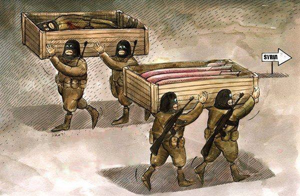 Photo of Caricature- The Humanitarian aid to terrorists in Syria