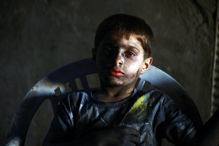 """Photo of """"Free (Terrorist) Army"""" uses a child, 10, in weapon industry in Aleppo"""