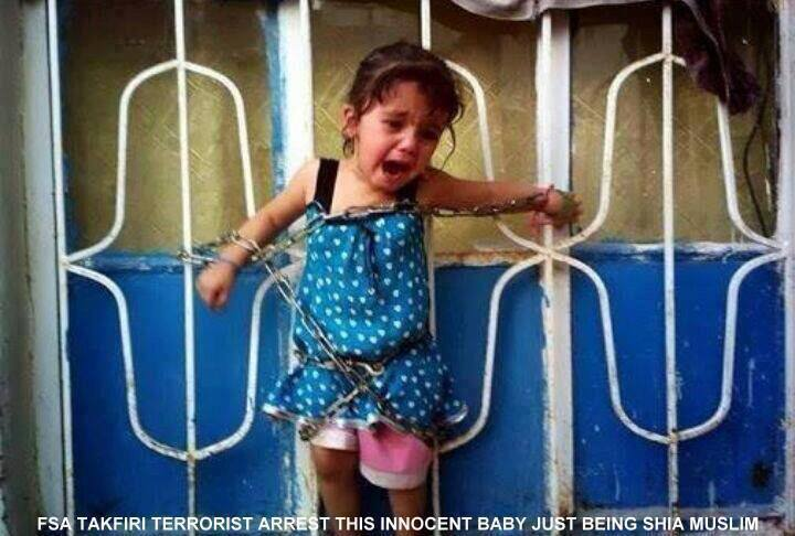 Photo of This child was tied up by FSA and made to watch as her mother and father were killed for being Shia