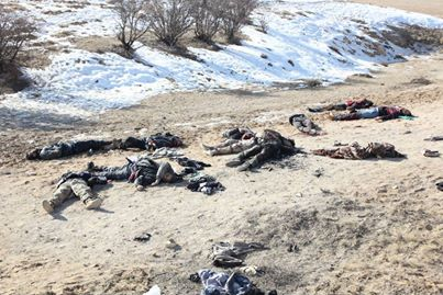 Photo of Syrian Army killed terrorists, mostly non- Syrians who belong to Army of Devil