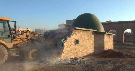 Photo of ISIL Terrorists destroys a mosque in Raqqa city